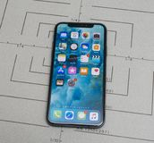 Set up on iPhone X 10 app application software unlock. Paris, France - Nov 9, 2017: new Apple iPhone X 10 smartphone screen after unboxing and all home screen royalty free stock images
