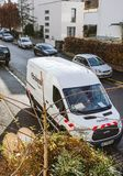 White Ford van from Fibraxess fiber optic installation Royalty Free Stock Images