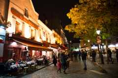 PARIS, FRANCE -  NOVEMBER 10, 2014 Cafe and Restaurant in Montma Stock Photo