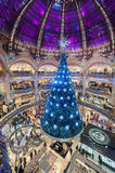 PARIS FRANCE - NOVEMBER 22, 2012: Galeries Lafayette Haussmann Shopping Mall in Paris. France. Christmas Time. Galeries Lafayette Haussmann Shopping Mall in Royalty Free Stock Photography