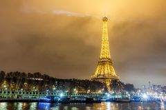 Paris France, November 2014: Holiday in France - Eiffel Tower during winter Christmas. Night view of Eiffel Tower during winter Christmas stock photo