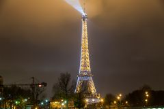 Paris France, November 2014: Holiday in France - Eiffel Tower during winter Christmas. Night view of Eiffel Tower during winter Christmas royalty free stock photos