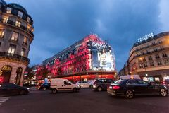 Paris France, November 2014: Holiday in France - Lafayette Galeries during winter Christmas. Paris France, November 2014: Holiday in France - Lafayette Galeries royalty free stock images