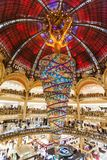 Paris France, November 2014: Holiday in France - Lafayette Galeries during winter Christmas. Paris France, November 2014: Holiday in France - Lafayette Galeries stock images