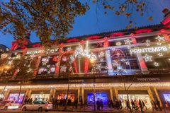 Paris France, November 2014: Holiday in France - Lafayette Galeries during winter Christmas. Paris France, November 2014: Holiday in France - Lafayette Galeries royalty free stock image