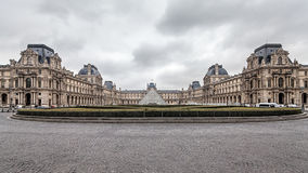 Paris France, November 2014: Holiday in France - The Louvre during winter Christmas. The Louvre Museum is the world`s largest museum and a historic monument in royalty free stock images