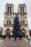 Paris France, November 2014: Holiday in France - Notre-Dame Cathedral and tourist during winter Christmas. Notre-Dame Cathedral and tourist during winter stock image
