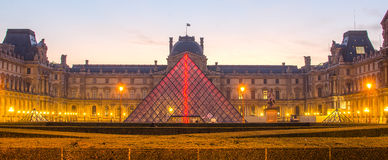 PARIS, FRANCE – 29 NOVEMBER, 2014: Louvre in the sunrise Stock Images