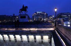 Paris, France - November, 2013 - Night scene at Pont-Neuf Royalty Free Stock Photography