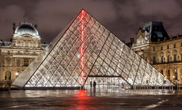 Paris, France - November 16, 2014: Night view of The Louvre muse Royalty Free Stock Photos