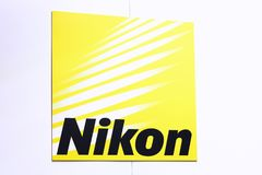 Nikon logo on a wall. Paris, France - November 11, 2017: Nikon logo on a wall. Nikon is a Japanese multinational corporation headquartered in Tokyo, Japan Royalty Free Stock Photos