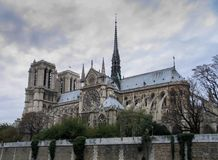 Paris, Notre Dame at rainy day, France royalty free stock images