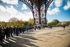 PARIS, FRANCE - NOVEMBER 11, 2014 People, mainly tourists queuin Royalty Free Stock Photo
