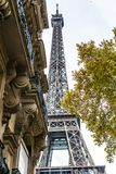 Paris, France - November, 2017. Streets of Paris, France. Blue sky, buildings and traffic. Paris, France - November, 2017. Streets of Paris, France. Blue sky Royalty Free Stock Photos