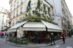 The traditional French cafe Maison sauvage decorated for Christmas, Paris, France. Stock Images