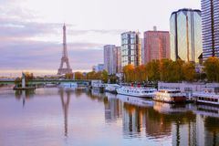 Paris France 11 november 2016 view on seine river and beaugrenelle stock images