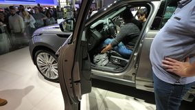 Exhibition mondial Paris Motor Car Show with new land rover SUV