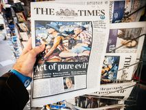 2017 Las Vegas Strip shooting newspaper the times pue evil Royalty Free Stock Image