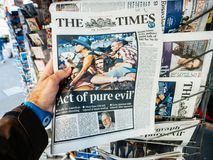 2017 Las Vegas Strip shooting newspaper the times pue evil Stock Images