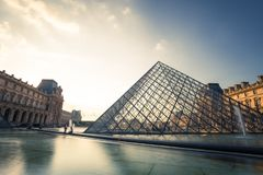 Paris, France - OCT 2016. Pyramid of the Louvre Art Museum, famous historical architectural landmark. Popular touristic Royalty Free Stock Photography