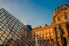Paris, France - OCT 2016. Pyramid of the Louvre Art Museum, famous historical architectural landmark. Popular touristic Stock Images