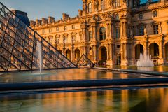 Paris, France - OCT 2016. Pyramid of the Louvre Art Museum, famous historical architectural landmark. Popular touristic Stock Photography