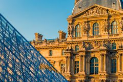 Paris, France - OCT 2016. Pyramid of the Louvre Art Museum, famous historical architectural landmark. Popular touristic Royalty Free Stock Photos
