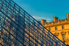 Paris, France - OCT 2016. Pyramid of the Louvre Art Museum, famous historical architectural landmark. Popular touristic Royalty Free Stock Image