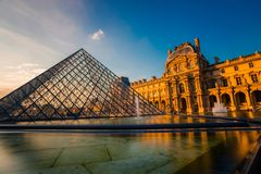 Paris, France - OCT 2016. Pyramid of the Louvre Art Museum, famous historical architectural landmark. Popular touristic. Places and travel destination in Europe Stock Images