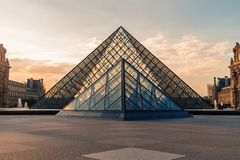 Paris, France - OCT 2016. Pyramid of the Louvre Art Museum, famous historical architectural landmark. Popular touristic Royalty Free Stock Images