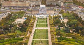 Aerial view of the Champ de Mars of Paris stock photo