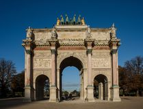Arc de Triomphe du Carrousel in Paris. Paris, France - October 30, 2017: The Arc de Triomphe du Carrousel, a triumphal arch in Paris, located in the Place du Stock Photography
