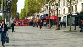 PARIS, FRANCE - OCTOBER 7, 2017. Champs-Elysees street sidewalk
