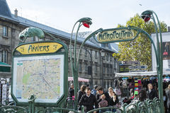 Paris, FRANCE - OCTOBER 21: Commuters entering Anvers metro stat Stock Image