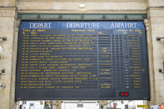 Paris, FRANCE - OCTOBER 21: Departures board in Gare ru Nord sho Stock Photography