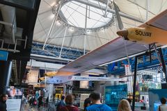 Exhibition of the famous Solar Impulse HB-SIA electric aircraft during the Science Fair 2018. Paris, France - October 6, 2018: Exhibition of the famous Solar royalty free stock photo