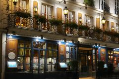 The historical Cafe Procope at night , Paris, France. Royalty Free Stock Images