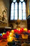 PARIS, FRANCE - OCTOBER 26, 2017 Illuminated Candles inside Notre dame, Paris. stock photo