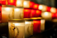 PARIS, FRANCE - OCTOBER 26, 2017 Illuminated Candles inside Notre dame, Paris. royalty free stock images