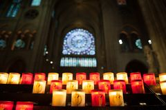 PARIS, FRANCE - OCTOBER 26, 2017 Illuminated Candles inside Notre dame, Paris. stock image