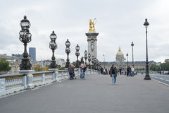 PARIS, FRANCE - OCTOBER 20: Pont des Invalides with Hopital des Royalty Free Stock Photography