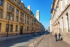 Historical university building of the Sorbonne in Paris, France. Paris, France - October 16, 2016: Sorbonne in Paris. The Sorbonne was the historical house of stock photo