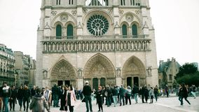 PARIS, FRANCE - OCTOBER 8, 2017. Crowded square near the Notre-Dame Cathedral Royalty Free Stock Photography