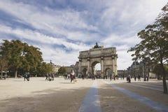 Paris, France. PARIS-OCTOBER 03:Triumphal Arch (Arc de Triomphe du Carrousel) at Tuileries gardens in Paris,France, October 03,2010. The monument was built Royalty Free Stock Photo