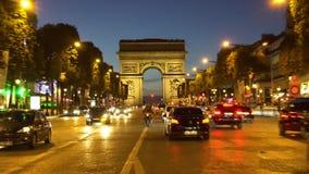 Arc de triomphe, Paris, France stock video footage