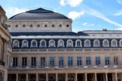 Paris, France. Palais Royal Royal Palace close to the Louvre. Columns, windows, handrails and details. royalty free stock photo