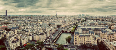 Paris, France panorama with Eiffel Tower, Seine river and bridges. Vintage Royalty Free Stock Images