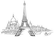 Paris France Panorama Sketch Stock Photography