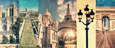 Paris France, panoramic photo collage vintage style, Paris landmarks travel tourism concept. Paris France, panoramic photo collage vintage style, Paris landmarks royalty free stock photos
