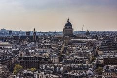 Paris, France. The Pantheon and the Latin Quarter from Notre Dame viewpoint. Dome and Saint Etienne du Mont Church. 2019 royalty free stock image